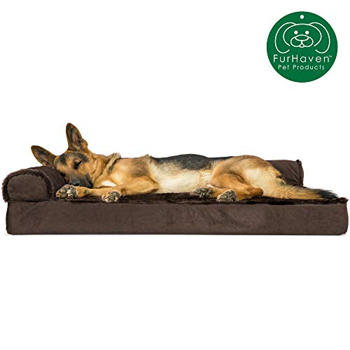 Furhaven Pet Dog Bed - Deluxe Orthopedic Plush Faux Fur & Velvet L Shaped Chaise Lounge Living Room Corner Couch Pet Bed w/ Removable Cover for Dogs & Cats, Sable Brown, Jumbo