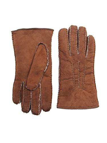 YISEVEN Damen Curly Shearling Handschuhe Neuseeland Lammfell Handarbeit mit Gefüttert Elegant Winter Autofahrer LederHandschuhe Geschenk, Erdbraun L
