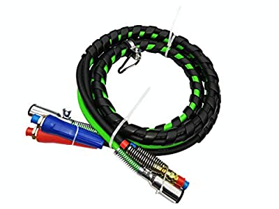 Trackon Parts 15 Ft. 3-in-1 Wrap Set, ABS Electrical and Rubber Air Line Hose Assemblies, for Semi Truck Tractor Trailer