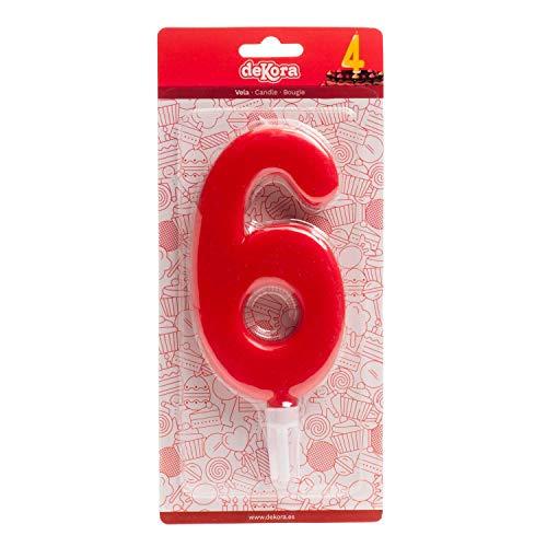 Decora kaars cijfer 6, wax reus, groen, 15 cm