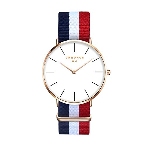Relojes Mujer Ultradelgado Reloj Raya Nylon Casual, Azul-Blanco-Rojo
