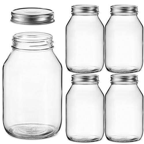 Glass Regular Mouth Mason Jars, 32 Ounce