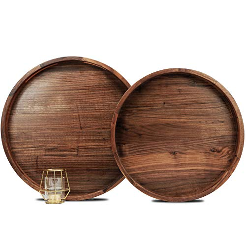 MAGIGO Set of 2 Large Round Black Walnut Wood Ottoman Tray with Handles, Serve Tea, Coffee, Classic Wooden Decorative Serving Tray, 16 &18 inches