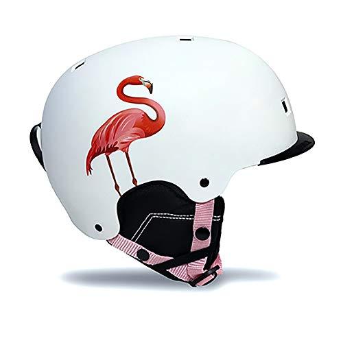 LALEO Flamingo Skihelm Race Edition, Atmungsaktiv Einstellbar Futter Ski Snowboard Zubehör Snowboardhelm Race-Helm für Erwachsenes Kind Herren und Damen, Schwarz, Weiß, Pink,Weiß,L