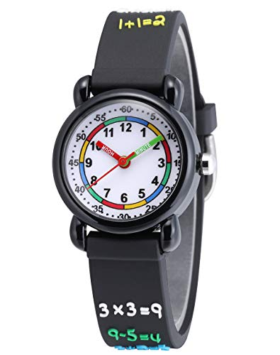Jewtme Cute Toddler Children Kids Watches Ages 3-8 Analog Time Teacher 3D Silicone Band Cartoon Watch for Little Girls Boys (Arithmetic-Black)