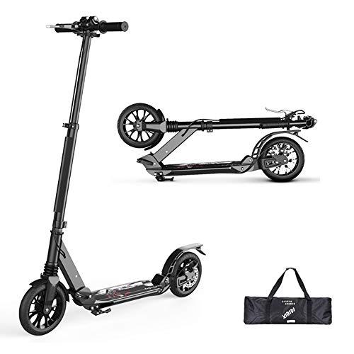 Patinetes clásicos Scooter Adulto Plegable con Manillar Ajustable, no eléctrico, Amortiguador de...