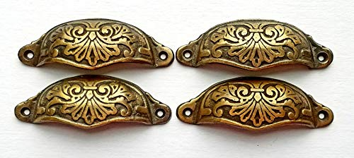 """4 Apothecary Cabinet Drawer Bin Pull Handles Antique Victorian Style Brass Hardware 3-1/2"""" Centers #A1"""