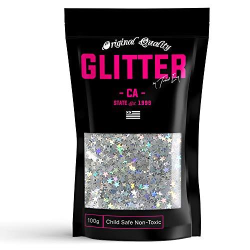 TWISTED ENVY 3mm Silver Holographic Stars Premium Glitter 50g / 1.75oz Multi Purpose Shape Glitter