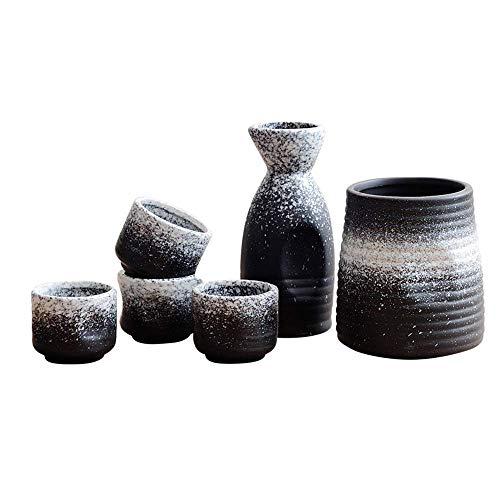 SBDLXY Juego de 5 Piezas de Sake con Calentador, Mini Juegos de Sake japonés de cerámica Tradicional Japonesa con Botella para Servir de Sake, Botella de Sake, 4 Tazas de Sake y Calentador