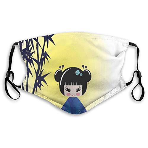 Gezicht Cover,Illustratie Van Een Kokeshi Pop En Bamboe Boom Japanse Aziatische Traditionele Kimono,Mond Cover Vervangbaar Wasbaar Anti-stof Gezicht Cover-Verstelbaar, Volwassen Grootte: M