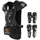 RIDBIKER Kids Motorcycle Armor Suit Dirt Bike Chest Spine Protector Back Shoulder Arm Elbow Knee Protector Body Armor Vest,Silver/Black (Black, M:(Height:45.27'-51.18'))