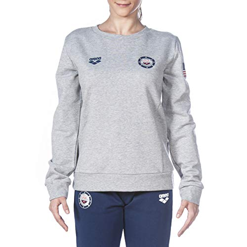 ARENA Damen Women's Official Swimming National Team Crewneck Sweatshirt Hemd, Mittelgrau meliert USA, Medium