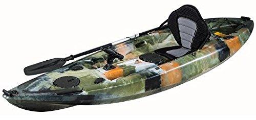 KAYAK DE PESCA 295x78x35 cm MIMETIZADO. Canoa equipada con asiento, 2 tambuchos y remo de aluminio.