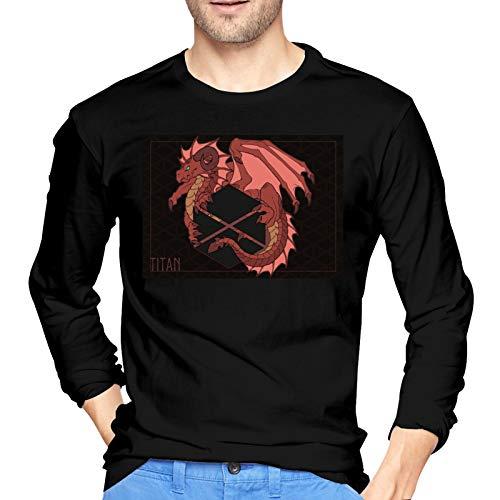 De-STI_NY 2 Camiseta de algodón para Hombre Moda Camiseta de Manga Larga con Cuello Redondo Grande Negro