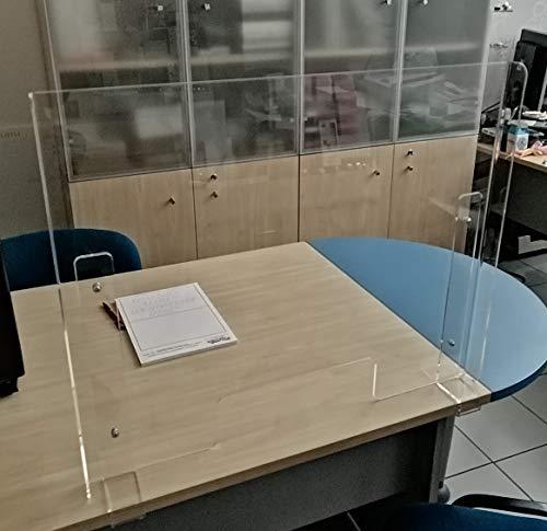 Fimel Barriera parafiato para Schizzi per banco Cassa in plexlglass Trasparente con Passaggio passacarte Misura L 80 CM XH 60 CM Foro