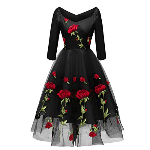 Women's Vintage Off Shoulder Rose Embroidered Flower 1950s Evening Prom Party Dress Retro Rockabilly 3/4 Sleeves Tulle Lace Wedding Formal Gown Cocktail A Line Midi Swing Dress Black Medium