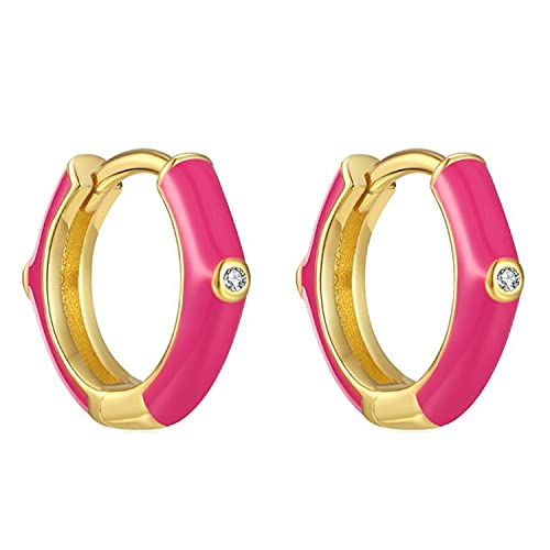 Pendientes Aros Aretes Mujer Plata de Ley 925 Mls Esmalte Rosa Fucsia 12 mm Cierre Clip Piercings Circulo