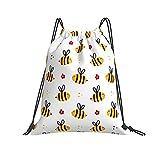 Bolsas lindo personaje de abeja voladora con flores y puntos...