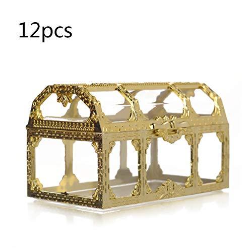 qingqingR Caja de joyería de Boda de Navidad Pendientes de Anillo de Caramelo Caja de Collar (Oro/Plata)