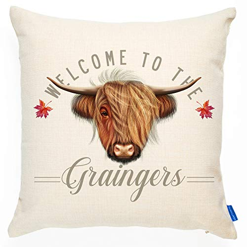 KRAFTYGIFTS Personalised Highland Cow Cushion Cover Welcome Vintage Gift KC87