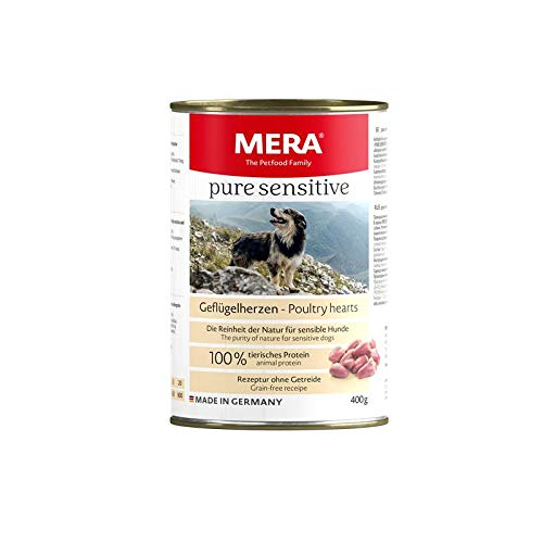 MERA Dog Pure Sensitive Meat Geflügelherzen | 6X 400g Hundefutter