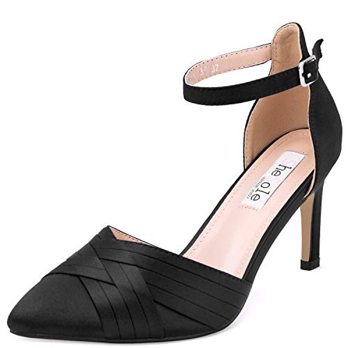 SheSole Damen Mid High Heels Spitze Pumps Knöchelriemen Stilettoabsatz Schwarz 38
