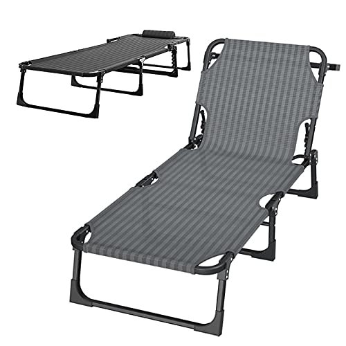 QAQWER Silla reclinable plegable con cero gravedad, tumbona con reposacabezas ajustable, respaldo ajustable de 5 niveles, carga hasta 300 kg
