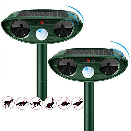 Repelente ultrasónico para gatos, repelente para espantadores de gatos TIMESISO, repelente para espantadores, a prueba de agua y con energía solar para gatos, perros, zorros, pájaros(2 paquetes)