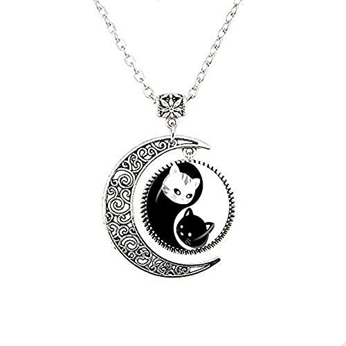 Yin Yang Gargantilla de luna Collar con dos Ying Yang Gatos Colgante Gatito Joyería Ocho Diagramas Sin Cuello