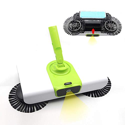 EZ SPARES Quiet Floor&Carpet Sweeper,Dry&Wet with Mops, Non Electric Multi-Surface Cleaner,Strong Cleaning Power,Water Absorption,Great for House,Office,Kitchen