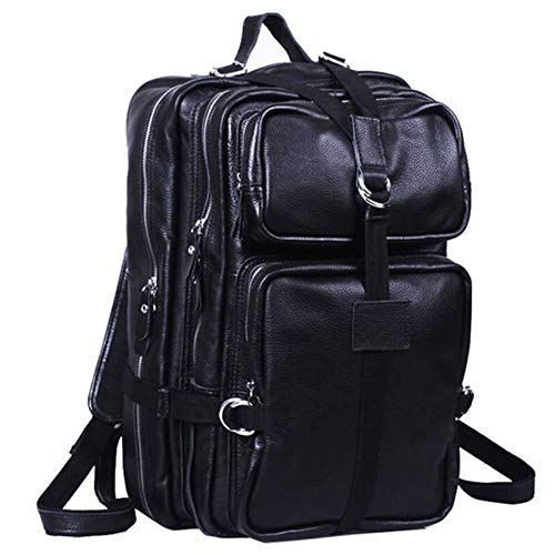 Fashion Big Business Travel Leather Backpack Fancy Stock Backpack Large Capacity Casual Backpack leather (Color : Black, Size : S)