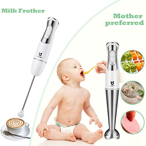 Immersion Hand Blender, Utalent 5-in-1 8-Speed Stick Blender with 500ml Food Grinder, BPA-Free, 600ml Container,Milk Frother,Egg Whisk ,Puree Infant Food, Smoothies, Sauces and Soups - White