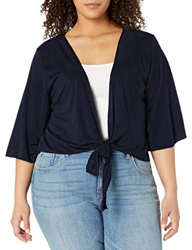 Star Vixen Women's Plus-Size 3/4 Sleeve Tiefront Shrug, Navy Solid, 2X