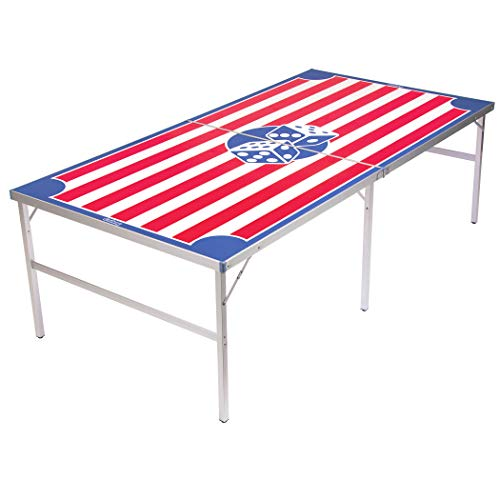 GoPong Beer Die Table - Regulation Size 8' x 4' America Beer Die Table, 50 Dice and Dice Tote Bag