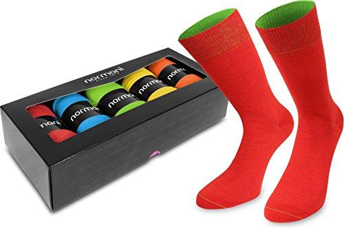 normani 5 Paar Bunte Baumwollsocken für Damen & Herren - 5er-Geschenkbox-Set Farbe Color Blast Größe 39/42