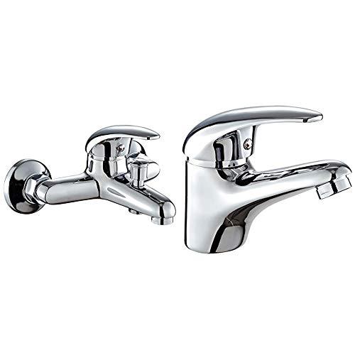 DP Grifería SN-0001 Grifo de bañera, color plateado +Grifo monomando de lavabo, color plateado, serie Naranjo