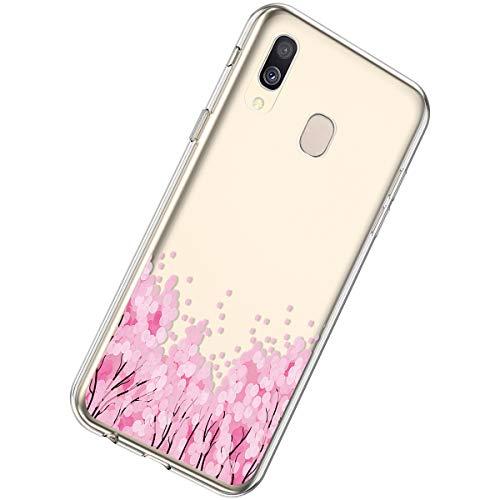 Herbests Kompatibel mit Samsung Galaxy A20 / A30 Hülle Silikon Weich TPU Handyhülle Durchsichtige Schutzhülle Niedlich Muster Transparent Ultradünn Kristall Klar Handyhülle,Pink Blume