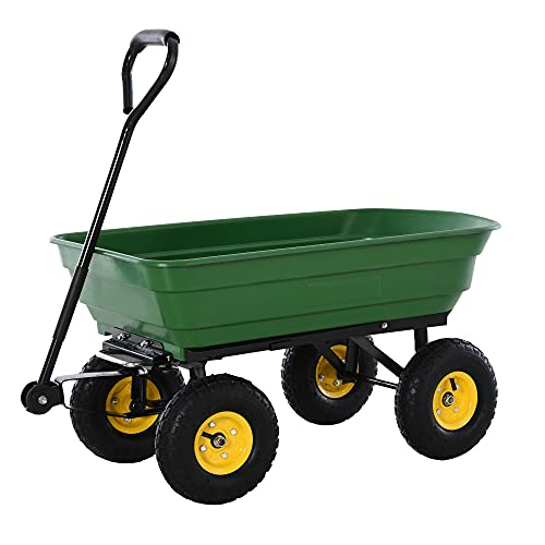 HOMCOM 125 Litre Large Garden Cart Heavy Duty 4 Wheel Trolley Dump...