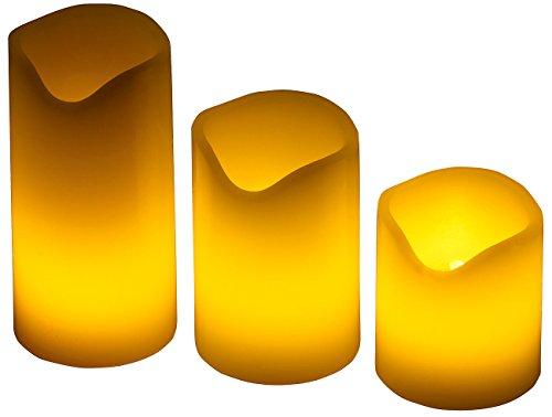 PEARL Wachskerzen mit Batterie: 3er-Set LED-Kerzen, Echtwachs-Mantel, Flacker-Flamme, Batteriebetrieb (Echtwachskerzen mit Batterie)
