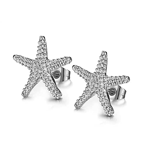 Bohemian Gold-color Starfish Stud Earrings Lovely Ocean Star Post Earring for Women Girls Boho Jewelry (Silver)