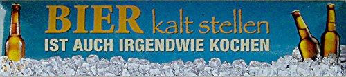 Blechwaren Fabrik Braunschweig Bière froide poser est aussi irgendwie kochen Plaque de rue de magnétique en fer-blanc 16 x 3,5 cm Str M 45
