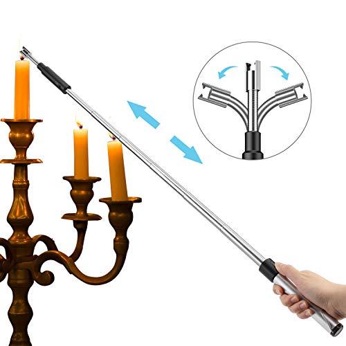 Kohree Encendedor de velas de arco de luz de 360°, USB extraíble, sin llama, encendedor de varilla electrónico, resistente al viento y a la intemperie, para cocina, barbacoas, cocinas, etc.