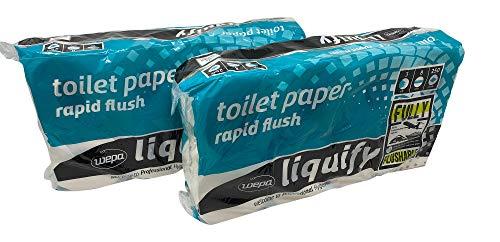 Wepa Liquify Camping Toilettenpapier Selbstauflösend 3-lagig - 8 Rollen á 250 Blatt - 2x 8 Rollen