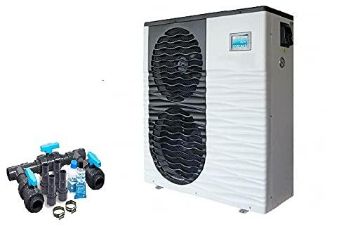 well2wellness Full-Inverter Pool Wärmepumpe Mida.Boost 24 - Poolheizung mit Einer Heizkapazität bis 24,2 kW Plus Bypass Set Basic + Abdeckung