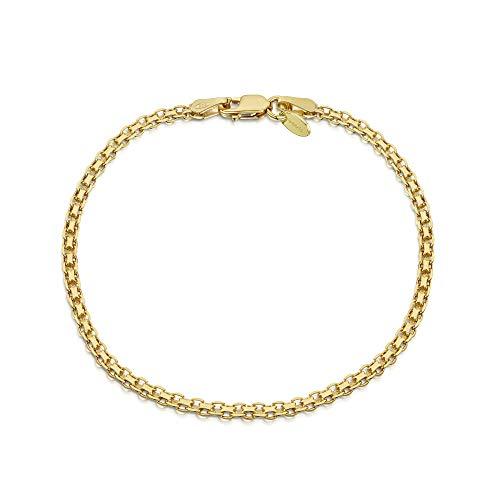 Amberta Damen-Kette Armband aus 925 Sterlingsilber Vergoldet 18K: Bismarck Kette 19 cm