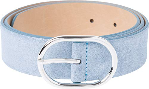 BRAX Damen Style Glitzer Veloursleder Gürtel, SKY BLUE, 105