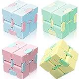 Infinity Cube Fidgets Toys,4pc Block Herramienta sensorial Juguete Durable Fidget Finger Toy Alivio del estrés y la ansiedad Reducción de presión Juguetes educativos Adecuado para Adultos Niños