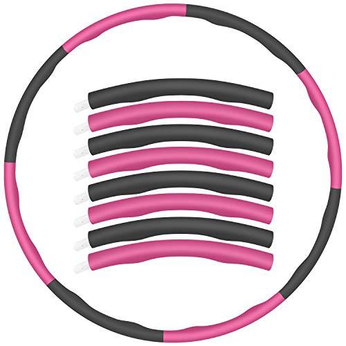 KDWOA Hula Hoop, Professional Fitness Hoop für Erwachsene, 6-8 Segmente Hula-Hoop Erwachsene, zerlegbar mit Schaumstoff für Jugendliche und Erwachsene, Sportübungen, Gewichtsverlust (Rosa + Grau)