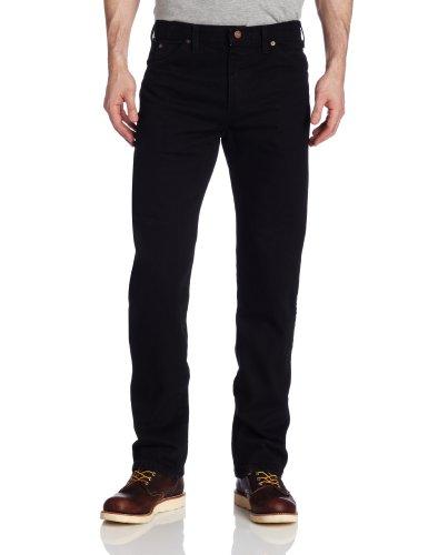 Dickies Men's Regular Straight Fit 6 Pocket Jean, Rinsed Overdyed Black, 38x30