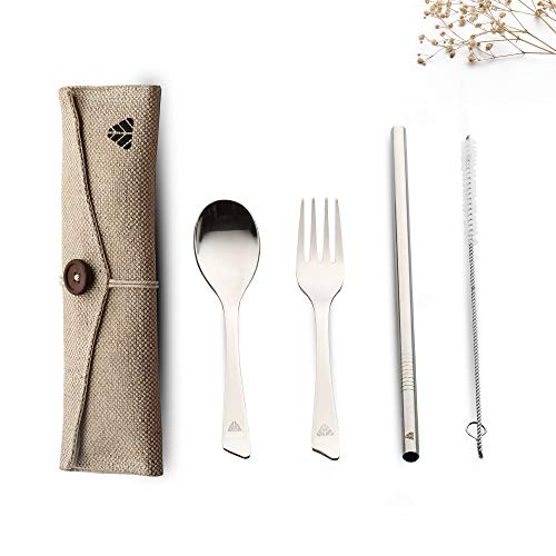 Minimo Steelery Reusable Stainless Steel Cutlery Set. Ideal for Daily use, Gifting and Traveling (Contains : Spoon, Fork,Straw and Cleaner, Napkin, Jute Pouch) (Beige, Spoon + Fork)